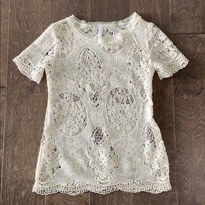 Xhilaration Cream Lace Shirt.
